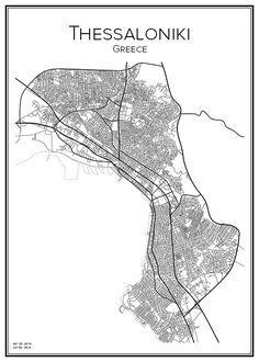 Stadskarta över Thessaloniki Thessaloniki, Macedonia, Greece, Sketches, Printables, Black And White, Prints, Poster, Pictures