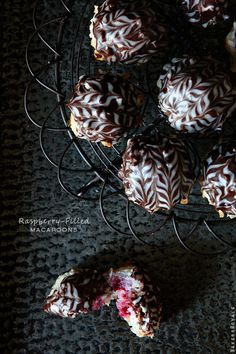 Chocolate Covered Raspberry Filled Macaroons