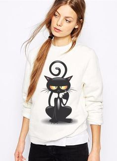 Two Stupid Cats ~ Products ~ Bad Kitty Sweatshirt  Like cats? Like hoodies? Causal Women's Sweatshirt, Bad Kitty for every day. Cat Sweatshirt will be perfect for cat lovers! Free Shipping Worldwide