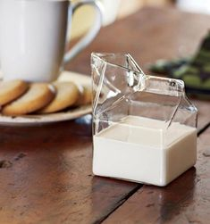 Half Pint is an artfully blown and molded glass creamer that captures the comforting familiarity of a mini milk carton, just like the ones Mrs. Fontaine used to pass out in the school cafeteria. Simple, elegant, whimsical- it's a gem de la creme. Buy $8.49