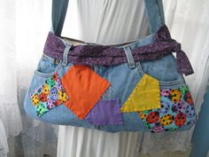 Denim Purse From Vintage Levi Jeans Upcycled Ladybugs Bag Tote