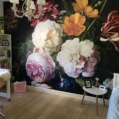 Room Colors, Colours, Flower Wallpaper, Decoration, Home And Living, Wall Murals, Living Room Designs, Master Bedroom, Interior