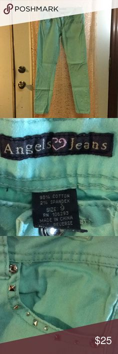Teal Angel jeans In excellent condition. Great details on front and back pockets Angels Jeans Straight Leg