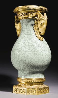 A GEORGE III GILT-BRONZE-MOUNTED CHINESE GE-STYLE BOTTLE VASE THE MOUNTS CIRCA 1770, POSSIBLY BY DOMINIQUE JEAN, THE PORCELAIN QIANLONG