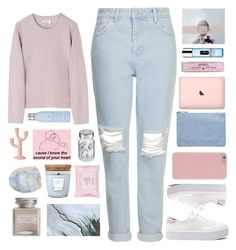 """""""Untitled #2533"""" by tacoxcat ❤ liked on Polyvore featuring Topshop, Acne Studios, Soap & Paper Factory, Drybar, Vita, Bloomingville, Rebecca Minkoff, Mullein & Sparrow, Miss Selfridge and Clinique"""
