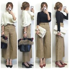 """What Would Holley Wear: Fall Crops and Culottes This week we are sharing our favorite ways to wear fall/winter culottes. Once a spring and summer look, culottes have made a big come back and now work year-round. Want to give your culottes a """"t… Mode Outfits, Chic Outfits, Fashion Outfits, Womens Fashion, Japanese Fashion, Korean Fashion, Witch Fashion, Pantalon Large, Mode Hijab"""