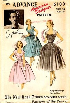 Beautiful vintage dress pattern with full skirt and sweetheart neckline