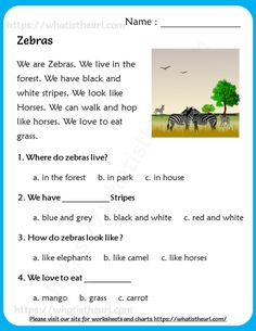 Zebras - Reading Comprehension for Grade 3 English Activities For Kids, English Grammar For Kids, English Reading, Teaching English, English Phonics, Reading Comprehension Worksheets, Reading Passages, English Story, Learn English