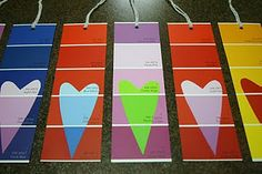 DIY tags made from paint chips! cute and easy for Valentines or Christmas