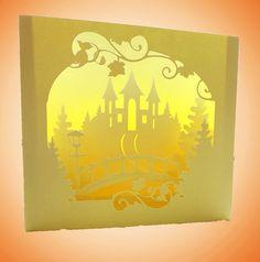Castle Bridge Shadow box card folds flat Template