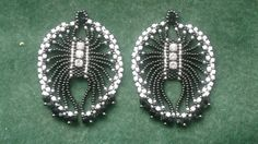 "Beading4perfectionists : 1920's Art Deco -""ish"" Spiderlike earrings brickstitch beading tutorial"