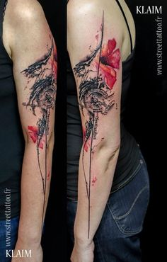 28 Incredible Watercolor Tattoos And Where To Get Them -- Artist: Klaim -- Street Tattoo, Ile-de-France, France