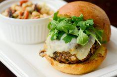 Mushroom crusted turkey burger