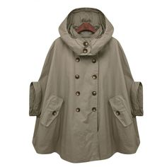 Green cape,hoodie trench coat with double breasted button,army green,Hooded cloak cotton, Women clothing Awesomeness. Mode Ab 50, Hooded Cloak, Hooded Jacket, Hooded Winter Coat, Green Coat, Green Raincoat, Cape Coat, Poncho Coat, Mode Inspiration