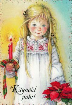 Lisi Martin, Christmas postcard 10 x Estonia Christmas Cards Drawing, Christmas Card Pictures, Christmas Artwork, Merry Little Christmas, Vintage Christmas, Christmas Holidays, Scandinavian Kids, Christmas Poinsettia, Christmas Illustration