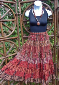 9 Tiered southwestern midi broomstick skirt by LamplightGifts, $19.75