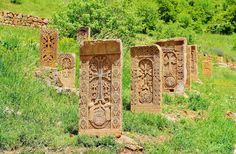 ARMENIA...A khachkar or khatchkar also referred to as Armenian cross-stones,  is a carved, memorial stele bearing a cross, and often with additional motifs such as rosettes, interlaces, and botanical motifs. Khachkars are characteristic of Medieval Christian Armenian art.  photo by Armen Gh