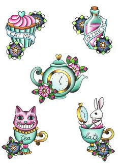 Cute Alice in wonderland tattoo designs