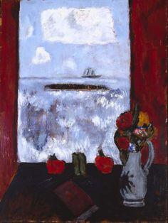"""Summer, Sea, Window, Red Curtain,"" Marsden Hartley, 1942, oil on Masonite, 40 1/8 x 30 7/16"", Addison Gallery of American Art."