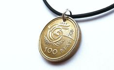 Your place to buy and sell all things handmade Coin Jewelry, Coin Necklace, Leather Necklace, Leather Jewelry, Necklaces, Euro Coins, Bronze Patina, Sliding Knot, Drawstring Pouch