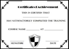 Certificate of Completion Template Black and White Certificate Of Completion Template, Free Certificates, Training Courses, Cool Designs, Parenting, Names, Templates, Words, Black