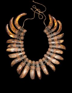 Ceremonial Necklace Luzon Philippines - Bontoc headhunter's wild boar tusks talisman/ceremonial necklace c.a 1930 - corditreasures