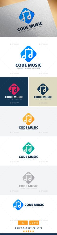 Code Music Logo — Vector EPS #audio #business • Available here → https://graphicriver.net/item/code-music-logo/11416466?ref=pxcr