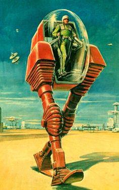New Science Fiction Illustration Sci Fi Robots 32 Ideas Retro Kunst, Retro Art, Arte Sci Fi, Sci Fi Art, Steampunk, Nono Le Petit Robot, Sci Fi Kunst, Science Fiction Kunst, Arte Robot
