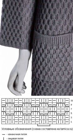 A simple purl and knit pattern of doing the opposite every second row, gives a beautiful diamond pattern from a far. Lovely knitted long jacket with pockets and wide short sleeves.