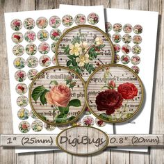 Vintage Roses, Digital Collage Sheet, 20 mm, 25 mm, 1 inch Circles, Round Jewelry Images, Old Rose Images, Codex Pages, Instant Download, d2 Old Rose, Rose Images, Vintage Roses, Collage Sheet, Digital Collage, Collages, Circles, Plant, Unique Jewelry
