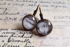 Ashmole 782 Antique Brass Book Quote Earrings - Inspired by the All Souls Trilogy A Discovery of Witches Shadow of Night