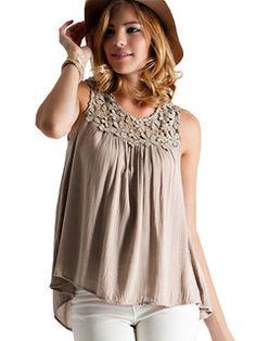Blusa sem mangas cáqui Pintuck Chiffon feminino