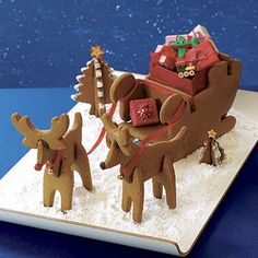 Cut gingerbread dough into reindeer and sled shapes to create a sweet scene for dessert.