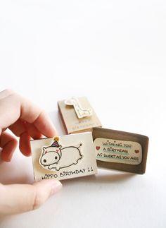 Hippo Birthday matchbox-card - Etsy link: https://goo.gl/gT29wN