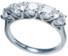 5 stone diamond ring in white gold by Petersens Jewellers, Christchurch.