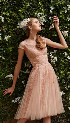 Gorgeous Blush Fit-and-Flare Tulle Dress