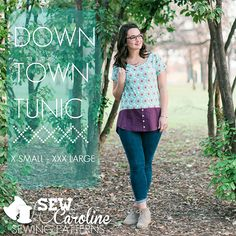 Sew Caroline Downtown Tunic Sewing Pattern - The Downtown Tunic was designed for everyday wear for the everyday woman. Pair it with leggings and booties for a night out, or with jeans and flats for a day running errands; it's versatility is perfect for many occasions. This tunic is constructed simply with a mix of knit and woven fabric. Choose two coordinating or contrasting fabrics to best suit your style! View A of the Downtown Tunic features a peplum skirt and View B features a button…