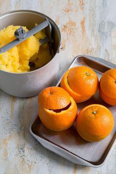 Orange Sorbet (served in orange cups)- The Little Epicurean Orange Ice Cream, Orange Cups, Orange Sorbet, How To Make Orange, Sorbets, Homemade Candies, Fruit Juice, Frozen Desserts, Food Hacks