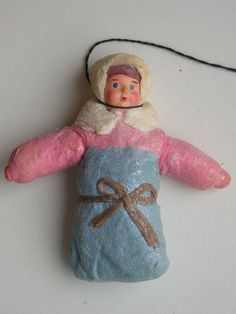 "Antique Russian Christmas Spun Cotton Ornament ""Baby"""