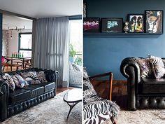 Sala de estar | Uma sanca de gesso, pintada de cinza-escuro,  foi presa na parede e hoje funciona como prateleira. Ali ficam expostas imagens e fotografias colhidas em pesquisas da moradora (Foto: Lufe Gomes/Casa e Jardim)