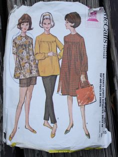 McCall 6995 1960s 60s Maternity Dress Top Pants Shorts Vintage Sewing Pattern Size 10 Bust 31.5