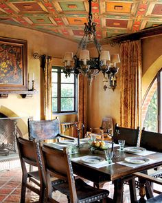 The dining room's frescoed ceiling consists of painted, wood-framed plaster panels that echo the rhythm of the floor tile. Adamson House (Malibu, CA) Repunned via Avente Tile's gorgeous board, Architectural Elements for Fresco Farmhouse Dining Room Table, Dining Room Table Decor, Dining Room Walls, Dining Room Design, Design Room, Decor Room, Room Chairs, Mexican Dining Room, Spanish Style Homes