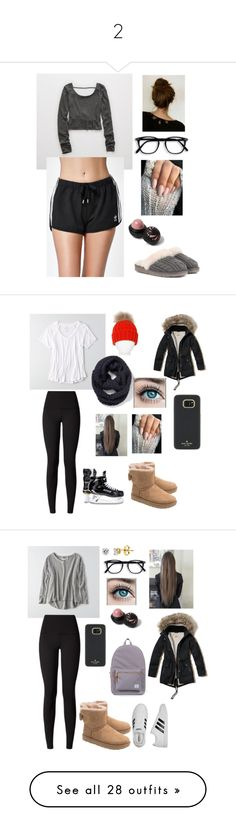 """2"" by ally22roy ❤ liked on Polyvore featuring Aerie, UGG, adidas, River Island, lululemon, Pia Rossini, American Eagle Outfitters, Old Navy, Hollister Co. and BERRICLE"