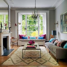 Here are the Victorian Bay Window Seat Ideas. This post about Victorian Bay Window Seat Ideas was posted under the … Home Decor Bedroom, Home Living Room, Living Room Designs, Room Window, Bedroom Ideas, Living Room With Bay Window And Fireplace, Bright Living Room Decor, Living Room Decor Elegant, Window Paint
