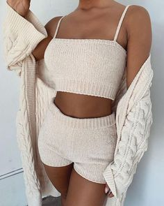 Spaghetti Strap Knitting Tank & Shorts Sets Women's Online Shopping Offering Huge Discounts on Dresses, Lingerie , Jumpsuits , Swimwear, Tops and More. Moda Instagram, Mode Outfits, Fashion Outfits, Womens Fashion, Lazy Outfits, School Outfits, Stylish Outfits, Latest Fashion, Summer Outfits