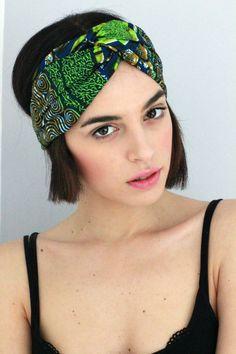 Turban Twist - Turban Headband, African Headwrap,Twisted Headband, Fabric Hairband, Headscarf, Green African Print Hairband
