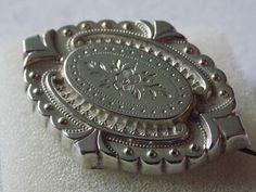 Unusual  Antique Victorian Solid Silver Engraved Embossed Brooch Circa 1880s #VICTORIAN