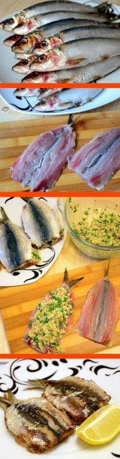 Ingredients servings): - 8 fresh sardines - core of 3 slices bread, finely ch. Sardine Recipes, Fish Recipes, Seafood Recipes, Great Recipes, Cooking Recipes, Favorite Recipes, Healthy Recipes, Jamie Oliver, Portuguese Recipes