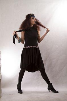 Black Tie Collar Dress/  Glass beaded waist