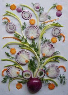 Composizione con cipolle - Un vaso con i fiori rappresentati attraverso le cipolle.